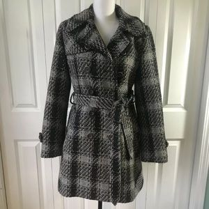 DKNYC Coat Size 10 Gray Plaid Pea Coat